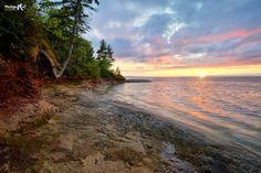 Lake Superior sunset near AuTrain Point