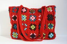 Crocheted Granny Squares Shoulder Bag/Purse by instincts on Etsy
