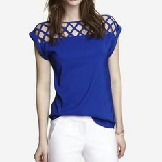 Express cobalt blue lattice top Vibrant color and lattice detail across the top. Stunning piece.  Small imperfection show in photo 3.  Hardly noticeable but wanted to be sure I mentioned it.  Just back from the dry cleaners and ready to go home with you.  Photo 1 courtesy of Express Express Tops Blouses