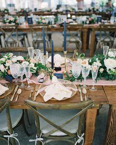 Navy, gold and blush wedding table decor: http://www.stylemepretty.com/2017/02/27/rustic-montana-whitefish-lake-wedding/ Photography: Jeremiah and Rachel - http://jeremiahandrachel.com/