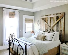 I have this bed frame...now to make the barnwood headboard. I'm sure my dad won't mind me taking apart his barn....:)