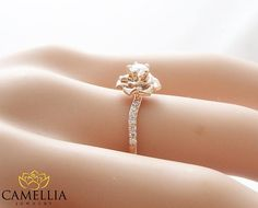 Diamond Rose Engagement Ring by Camellia Jewelry Flower Ring