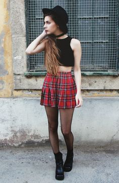 girl in tartan mini skirt, over knee socks and crop top - Google ...