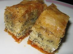 Baklava from Food.com:   Traditionally Greek. Always good.  Once baked, the baklava has to stand for 3 hours to overnight to absorb the syrup into its layers.  Whereas it is most common to find baklava made entirely with walnuts here in Greece, I prefer a combination with almonds.  Sometimes I'll make the baklava using pistachios, or sometimes a 1/2-1/2 mixture of pistachios and almonds.  They're all great variations on a delicious theme.