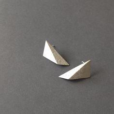 Oxidized Silver Geometric Earrings, Sterling Silver Triangle Earrings, Black Triangle Studs, Minimalist Black Earrings by RawObjekt on Etsy https://www.etsy.com/listing/194375361/oxidized-silver-geometric-earrings