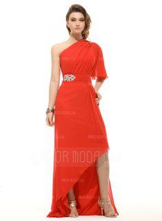 A-Linie/Princess-Linie One-Shoulder-Träger Asymmetrisch Chiffon Festliche Kleid mit Rüschen Perlen verziert (020016062)
