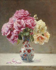 Emile-Paul Vernon, Roses in an Oriental Vase. 1890.