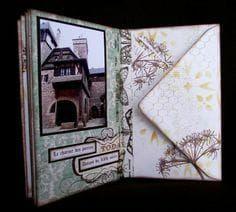 tuto mini album enveloppes Mini Album Scrap, Baby Mini Album, Album Photo Scrapbooking, Mini Albums Scrapbook, Faire Un Album Photo, Mini Albums Photo, Tutorial Scrapbook, Envelope Book, Waterfall Cards