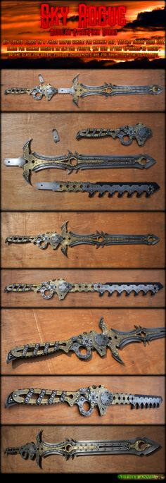 Steampunk Modular Sword - Sky Rogue by AetherAnvil on DeviantArt Steampunk Sword, Steampunk Costume, Fantasy Sword, Fantasy Weapons, Swords And Daggers, Knives And Swords, Mens Toys, Character Design Inspiration, Dieselpunk