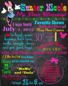 First Birthday Poster - Photography Prop - Minnie Mouse Theme