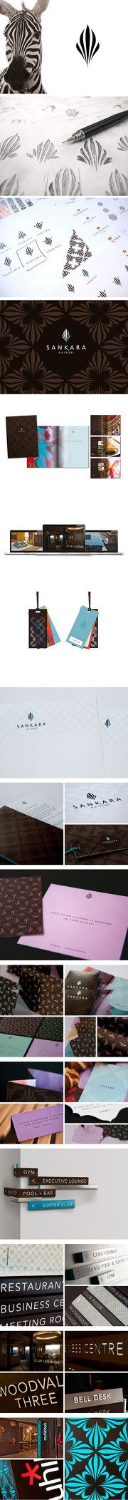 Sankara Hotel / Branding / Identity / Logo / Process / sketch / inspiration / zebra / stripes / pattern / stationery / business card / signs / signage / directions / labels / brochure / design