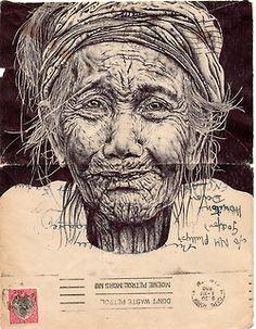 Bic Biro pen drawing on 1950 envelope.  Mark Powell