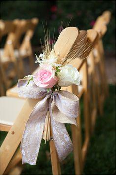 Wedding Seating Ideas: Roses wheat and burlap ribbon aisle decor