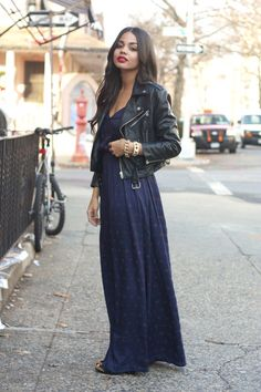 leather jacket and maxi dress