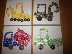 Constructin button canvas trucks.  How do you like these button canvas's I made for my son. He love helping glue the buttons on with me.