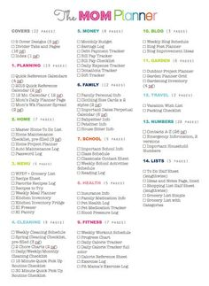 Great reference for home binder categories . Clean Life and Home: The Mom Planner: Home Management Binder for Moms Agenda Planning, To Do Planner, Planner Pages, Life Planner, Happy Planner, Printable Planner, Family Planner, Printables, Planner Inserts