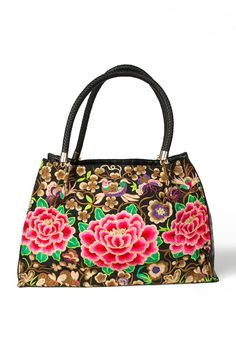 42e3fb66aca Flora Embroidered Tote Bag Black Tote Bag, Embroidered Flowers, Satchel,  Flora, Fashion