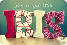 yarn wrapped letters nursery decor and homemade gift @Ryan Sullivan Sullivan Ray :)