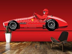 Retro Red Racer wall mural room setting