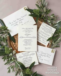 "Exclusive: Louise Roe and Mackenzie Hunkin's Wedding Photos! | Martha Stewart Weddings - ""It's very English to have simple, embossed calligraphy on a thick cream card,"" says Louise of the couple's stationery suite from Wedding Paper Divas."