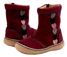 Livie & Luca *MAEVE* Burgundy Suede Boot w/Hearts