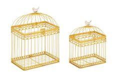 2 Piece Metal Acrylic Decorative Bird Cage Set