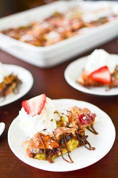 Strawberry, banana and Nutella bread pudding
