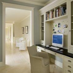 "Contemporary Office Design, Pictures, Remodel, Decor and Ideas - Restoration Hardware color called 'Silver Sage"" Valspar's Cafe Blue is a similar color."