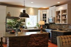 3870349650046536 Kitchen cabinets white top/brown bottom, DIY extended height, stone backsplash
