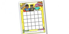 Superhero Sticker Stamp Reward Chart