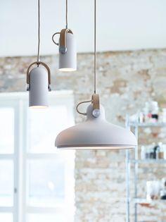 CARRONADE LARGE PENDANT LAMP - SAND from Skandium | www.skandium.com Dining  table inspiration. nordic designer lamp with leather detail.