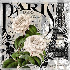 Paris, White roses, Eiffel Tower, writing.