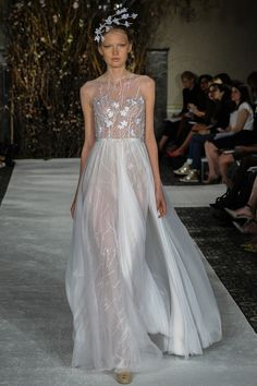 Fully vine and branch embroidered gown with silk chiffon shadow skirt. Color: Blossom Ivory