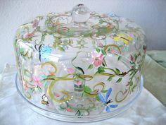 Hand painted cake plate  cake dome on pedestal by TivoliGardens, $54.00