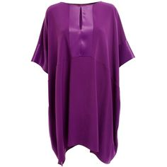 WtR - Empire Satin Crepe Tunic Purple found on Polyvore featuring polyvore, women's fashion, clothing, tops, tunics, relaxed fit tops, long length tops, purple top, purple tunic and flared top