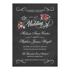 "Rustic Floral Chalkboard Wedding Invitations 5"" X 7"" Invitation Card"