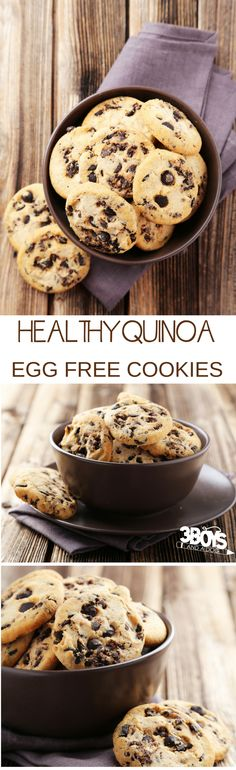 Not only are these Chocolate Chip cookies egg free and gluten free, but the quinoa makes them full of protein! Seriously, with their high protein and super food status, these egg free cookies make the perfect snack for your weight loss journey. #eggfree #glutenfree #proteinsnacks