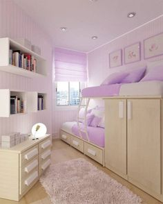 A Collection Of Beautiful Purple Little Girls Bedrooms : Feminine Purple Striped Wall Little Girls Bedroom Design with Beautiful Bunk Bed Cl...
