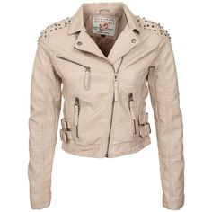 Parisian Truffle Brown PU Stud Shoulder Biker Jacket ($81) ❤ liked on Polyvore