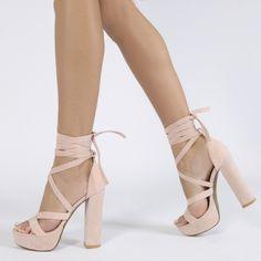 "Stella Lace Up Heels in Dusky Pink Faux Suede 1.2"" platform 5"" heel"