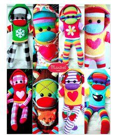 I just love these colorful and adorable sock monkeys by Maribel Made at… Sock Crafts, Sewing Crafts, Diy And Crafts, Sewing Projects, Arts And Crafts, Softies, Sewing For Kids, Diy For Kids, Sock Monkey Pattern