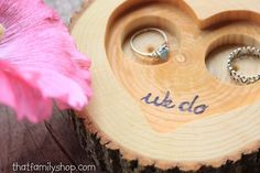 """Rustic 'We Do' Custom Log Ring Bearer """"Pillow"""" Dish, Initials Date Custom Wood Burning Ring Pillows, Ring Stand, Shape And Form, Ring Dish, Rustic Wedding, Wedding Ideas, Hemp Oil, Ring Bearer, Custom Wood"""