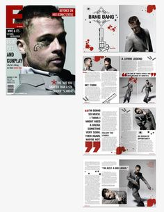 """Magazine Layout (College Project) Consistency within the design. (Blood splatter and red quotations"""")"""