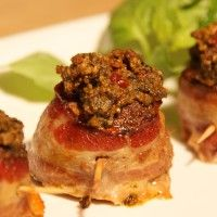 Bacon Wrapped Meatballs with Sun-Dried Tomato, Basil and Walnut Pesto Phillips-Barton Phillips-Barton at Swiss Paleo Primal Recipes, Meat Recipes, Real Food Recipes, Cooking Recipes, Yummy Food, Healthy Cooking, Free Recipes, Tasty, Recipes
