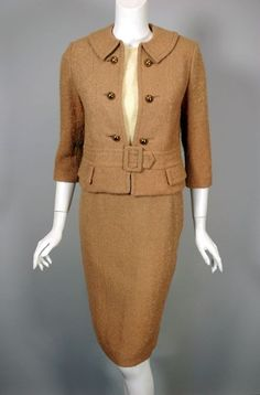 1960s suit womens size XS camel wool boucle 3 piece from Viva Vintage Clothing