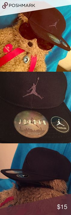 Nike Jordan Toddler Cap Authentic Iconic Nike Jordan Cap. Size: Toddler. Unisex. Color: Black with Embroidered Black Air Jordan Logo on the Front Center. Vented. Adjustable Velcro Back. Embroidered Black Jordan Lettering on the Back Center. 100% Cotton. Brand New: NWOT. Excellent Condition. No Trades. Nike Accessories Hats