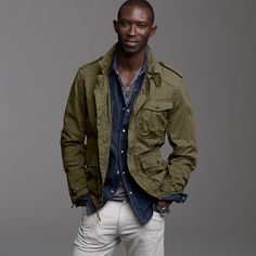 J Crew Cadet jacket Military Fashion, Mens Fashion, Army Shirts, Smart Outfit, Military Style Jackets, Stylish Mens Outfits, Field Jacket, Gentleman Style, Looks Style