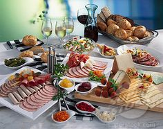 Picture of Cold buffet: cold cut platter, cheese, salad, bread & wine stock photo, images and stock photography. Breakfast Catering, Breakfast Platter, Breakfast Buffet, Best Breakfast, Cold Lunches, Cold Meals, Food Platters, Cheese Platters, Party Platters
