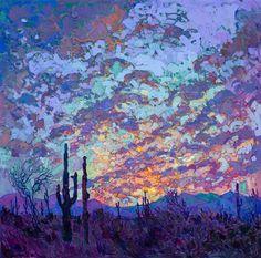 Saguaro National Park landscape desert painting by modern impressionist Erin Hanson.