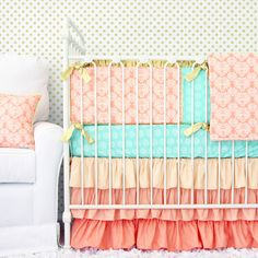 Chloes Coral Damask Designer Baby Bedding | 2 or 3 Piece Crib Set | for Coral, Gold, Mint Nursery Design by CadenLaneBabyBedding on Etsy https://www.etsy.com/listing/230721095/chloes-coral-damask-designer-baby